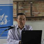 Wang Penglin during his lecture.